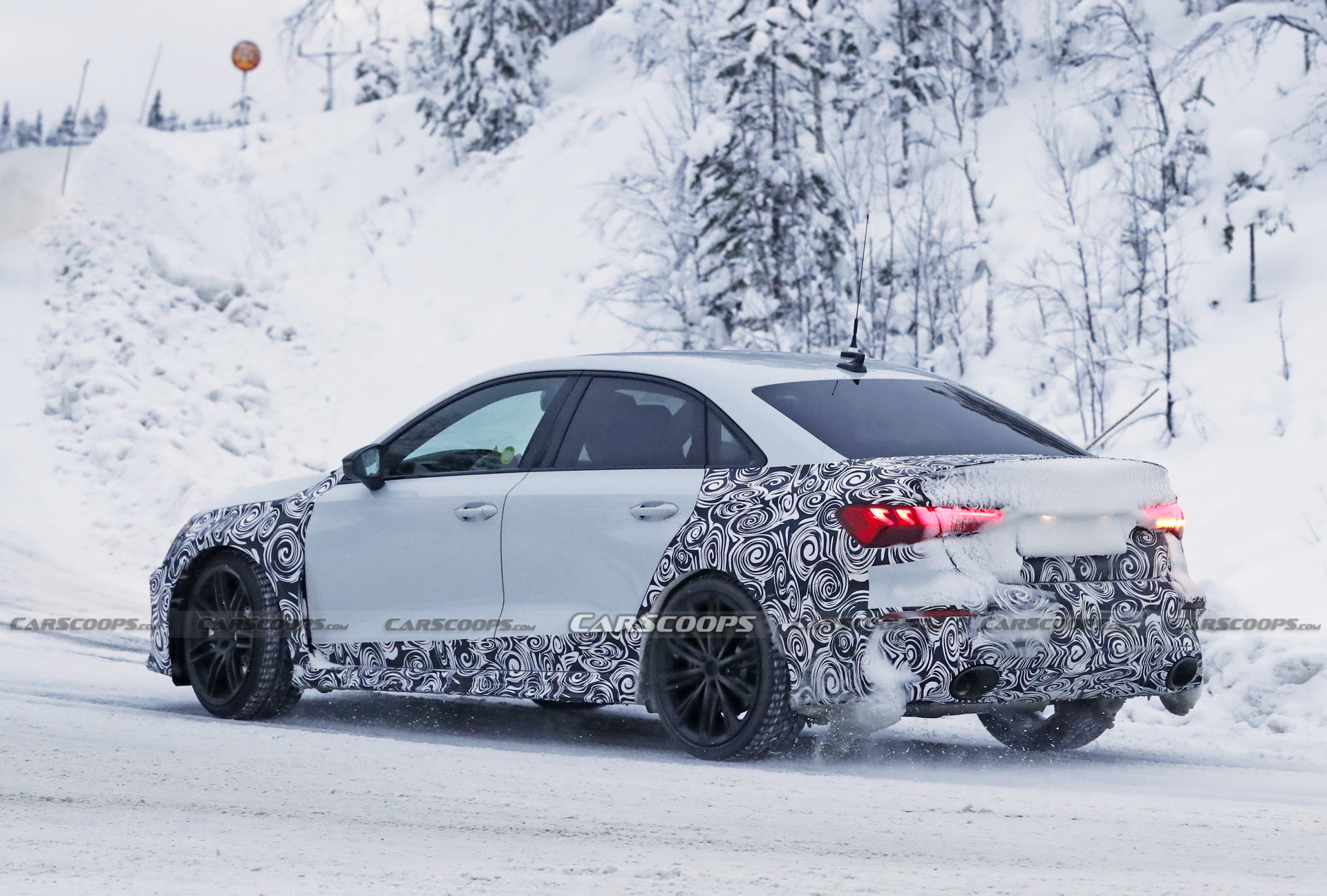 2022 Audi RS3 Sedan Flashes Wide Body Big Exhaust Pipes